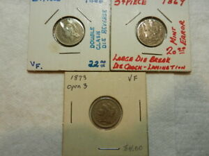 DADS ESTATE LOT 1873 OPEN 3 1869 WITH CUD 1866 CLASHED DIES THREE CENT NICKELS