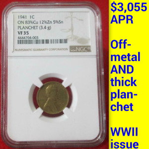1941 NGC VF35 OFF METAL PATTERN THICK PLANCHET WWII 1C  LINCOLN WHEAT CENT