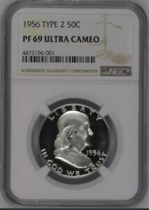 Click now to see the BUY IT NOW Price! 1956 TYPE 2 FRANKLIN SILVER HALF DOLLAR 50C PF69 ULTRA CAMEO NGC GUIDE 3500
