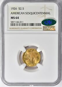 1926 $2.50 SESQUICENTENNIAL COMMEMORATIVE GOLD NGC MS 64 CAC