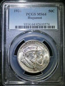 1924 HUGUENOT COMMEMORATIVE SILVER HALF DOLLAR PCGS MS64 LIGHTLY TONED COIN