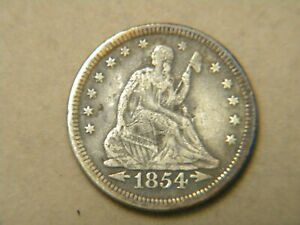 1854 US QUARTER ARROWS AT DATE   NICE COIN
