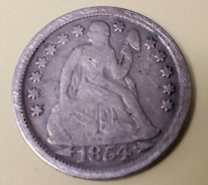 1854 DIME SEATED LIBERTY W/ ARROWS SILVER