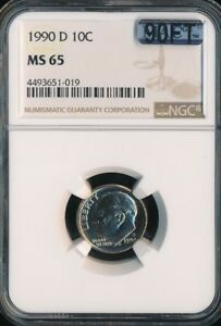 1990 D ROOSEVELT DIME NGC MAC MS65 90FT  A $1 000 COIN IN FT