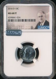 2016 D ROOSEVELT DIME NGC MAC MS68 FT 2ND FINEST ONLY1 HIGHER