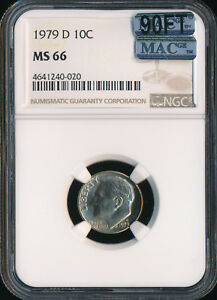 1979 D ROOSEVELT DIME NGC MAC MS66 90FT $600 FOR A FT