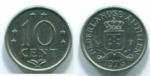 10 CENTS 1977 NETHERLANDS ANTILLES NICKEL COLONIAL COIN S13740.U