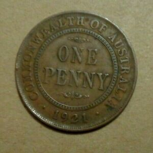 AUSTRALIA COIN ONE PENNY 1921 COIN KM 23