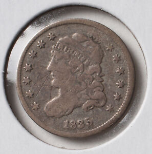 1835 H10C CAPPED BUST HALF DIME   SMALL DATE SMALL 5C   VF   SCRATCHES ON REV