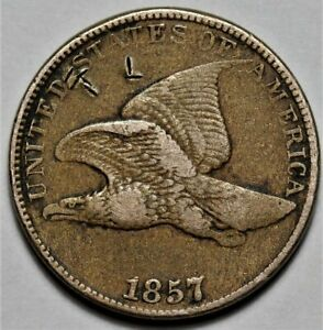 1857 FLYING EAGLE CENT  >> US 1C PENNY COIN <<  FLAT RATE SHIPPING   LOT 219