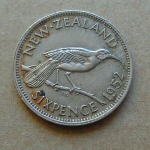 COIN NEW ZEALAND 6D 6P 6 SIXPENCE KING GEORGE VI  1952