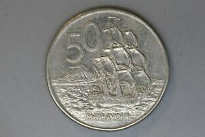1988   NEW ZEALAND   50 CENT COIN   ENDEAVOUR   VF