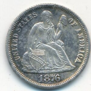 1876 CC SEATED LIBERTY SILVER DIME KEY DATE  GENTLY CIRCULATED SHIPS FREE  INV:5