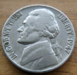 1947 NICKEL FIVE CENT COLLECTABLE COIN