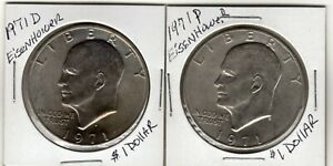 NICE PAIR OF 2 1971 P AND D EISENHOWER CIRCULATED DOLLARS