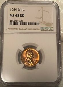 Click now to see the BUY IT NOW Price! 1959 D LINCOLN CENT TOP POP NONE FINER NOR TIED @ NGC OR PCGS  MS 68 RD NGC