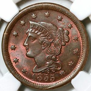 Click now to see the BUY IT NOW Price! 1855 N 4 NGC MS 66 RB TDS BRAIDED HAIR LARGE CENT COIN 1C