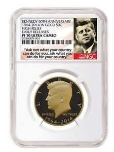 Click now to see the BUY IT NOW Price! 2014 W GOLD KENNEDY HALF 50TH ANNIVERSARY NGC PF70 UCAM EARLY RELEASES  OGP