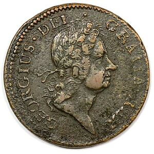 1722 M4.12 BE.1 R 5 DOUBLE STRUCK WOODS HIBERNIA HALF PENNY COLONIAL COIN