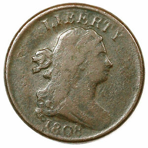 1808 C 3 DOUBLE STRUCK DRAPED BUST HALF CENT COIN 1/2C