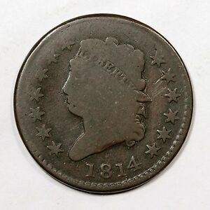 1814 S 295 DOUBLE STRUCK BROCKAGE MAKER CLASSIC HEAD LARGE CENT COIN 1C