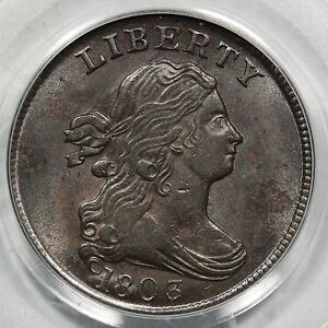 Click now to see the BUY IT NOW Price! 1803 C 3 PCGS MS 61 BN DRAPED BUST HALF CENT COIN 1/2C EX; SPURLOCK