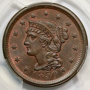 Click now to see the BUY IT NOW Price! 1850 N 4 PCGS MS 64 BN BRAIDED HAIR LARGE CENT COIN 1C