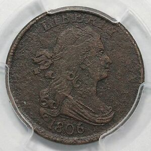 Click now to see the BUY IT NOW Price! 1806 C 3 PCGS VF DETAILS SMALL 6 STEMS DRAPED BUST HALF CENT COIN 1/2C
