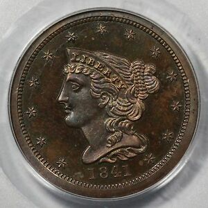Click now to see the BUY IT NOW Price! 1841 PCGS PR 65 BN RESTRIKE BRAIDED HAIR HALF CENT COIN 1/2C EX; GARRETT
