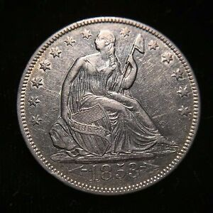 Click now to see the BUY IT NOW Price! 1853 O ARROWS RAYS SEATED LIBERTY HALF DOLLAR 50C AU ABOUT UNCIRCULATED KEY DATE