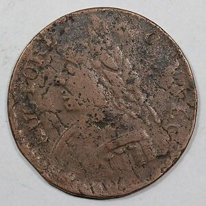 1787 OBVERSE 13 FULL BROCKAGE CONNECTICUT COLONIAL COPPER COIN  EX; PICKER