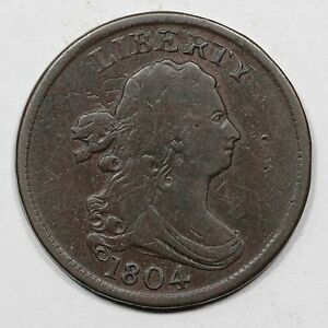 1804 C 9 R 2 DOUBLE STRUCK OVER BROCKAGE DRAPED BUST HALF CENT COIN 1/2C