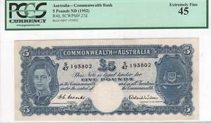 Click now to see the BUY IT NOW Price! AUSTRALIA 5 POUNDS 1952 R48/P27D COOMBS WILSON PCGS LY FINE 45