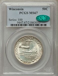 Click now to see the BUY IT NOW Price! 1936 50C WISCONSIN SILVER CENTENNIAL COMMEMORATIVE PCGS MS67   GREEN CAC