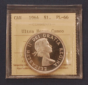 Click now to see the BUY IT NOW Price! 1964 CANADA SILVER DOLLAR ICCS PL66   ULTRA HEAVY CAMEO   FINEST KNOWN
