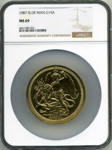 Click now to see the BUY IT NOW Price! ISLE OF MAN 1987 GOLD 15 OUNCE ANGEL NGC MS69 WITH ORIGINAL BOX & COA