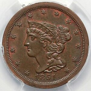 Click now to see the BUY IT NOW Price! 1851 C 1 PCGS MS 64 BN BRAIDED HAIR HALF CENT COIN 1/2C