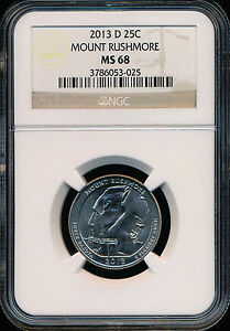 Click now to see the BUY IT NOW Price! 2013 D MOUNT RUSHMORE PARKS QUARTER NGC MS68 FINEST REGISTRY