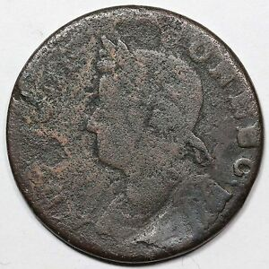 1786 5.8 OBV FULL BROCKAGE CONNECTICUT COLONIAL COPPER COIN