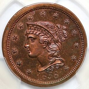 Click now to see the BUY IT NOW Price! 1856 N 5 R 6 PCGS PR 64  RB SLANTED 5 BRAIDED HAIR LARGE CENT COIN 1C EX; TL