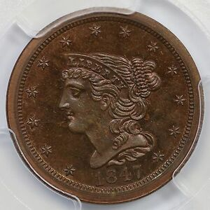 1847 RESTRIKE PCGS PR 65 RB CAC BRAIDED HAIR HALF CENT COIN 1/2C