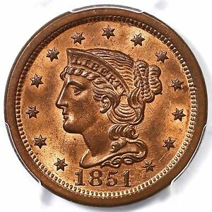 Click now to see the BUY IT NOW Price! 1851/81 N 3 PCGS MS 65 RB FINEST KNOWN BRAIDED HAIR LARGE CENT COIN 1C