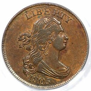 Click now to see the BUY IT NOW Price! 1805 C 1 R 2  PCGS AU 58 SMALL 5 NO STEMS DRAPED BUST HALF CENT COIN 1/2C