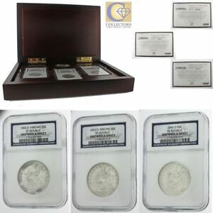 Click now to see the BUY IT NOW Price! 1854 1856 SILVER SEATED LIBERTY 50C 3 COIN SET NCG SHIPWRECK EFFECT BOX & COA