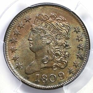 Click now to see the BUY IT NOW Price! 1809/6 C 5 PCGS MS 64 BN 9 OVER INVERTED 9 CLASSIC HEAD HALF CENT COIN 1/2C