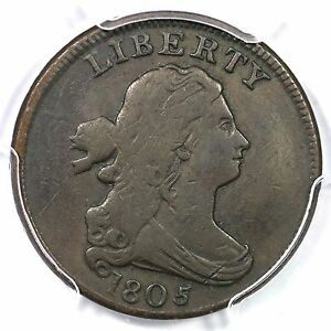 Click now to see the BUY IT NOW Price! 1805 C 3 R 4 PCGS F 12 SMALL 5 STEMS DRAPED BUST HALF CENT COIN 1/2C