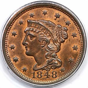 Click now to see the BUY IT NOW Price! 1848 N 1 PCGS MS 64 RB BRAIDED HAIR LARGE CENT COIN 1C EX; NAFTZGER
