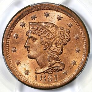 Click now to see the BUY IT NOW Price! 1851 N 43 R5 PCGS MS64RD   CC1   BRAIDED HAIR LARGE CENT COIN 1C