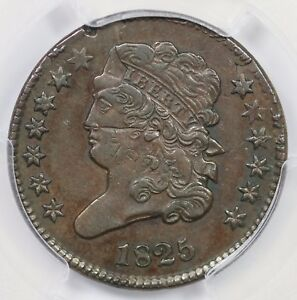 1825 PCGS XF 40 DBL STRUCK 40  OFF CENTER CLASSIC HALF CENT COIN 1/2C