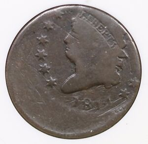 1814 ANACS VG 8 OFF CENTER CLASSIC HEAD LARGE CENT COIN 1C